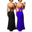 Elegant Women's Asymmetrical Dress Plain Strapless Plain High Split Slim Fitted Maxi Dress