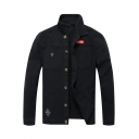 Stylish Camo Printed Cool Badge Patched Men's Stretch Fit Button Down Military Work Jacket