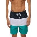 Summer New Stylish Colorblock Drawstring Waist Breathable Beach Holiday Swim Shorts for Men