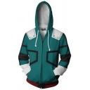 3D Printed Cosplay Costume Long Sleeve Loose Casual Green Hoodie