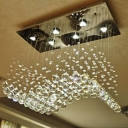 Crystal Orbs LED Flush Chandelier Modern Style Gold Wavy Dining Table Ceiling Mount Lamp, 19.5