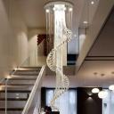 Silver Spiral Multi Light Pendant Modern 13 Lights Hand-Cut Crystal LED Suspension Lamp for Hall