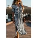 New Trendy Striped Print Long Sleeve Lapel Collar Belted Waist Split Side Button Down Maxi Shirt Dress