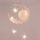 Moon Shape Suspension Light Metal 5 Bulbs Pendant Lamp for Girl's Bedroom in Chrome
