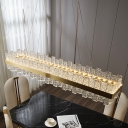 Rectangular Island Light Fixture Modern Brass Crystal Prism Pendant Lamp in 3 Colors