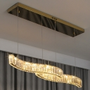 Parallel Crystal Hanging Pendant Contemporary Brass LED over Island Lighting in 3 Colors