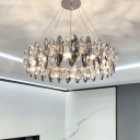 Round Hanging Chandelier Modern Smoke Crystal and Metal Pendant Chandelier for Kitchen