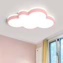 1-Light Metal Shell LED Kids Bedroom Flushmount Ceiling Light Acrylic Cloud Form Simple Flush Mount Light