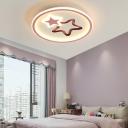 Metal Ring LED Kids Bedroom Flushmount Light Acrylic Stars Form 1-Head Flushmount Ceiling Fixture