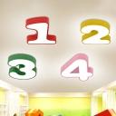 Kindergarten LED Ceiling Mount Light Fixture Kids Flush Mount Lamp with Digital Acrylic Shade
