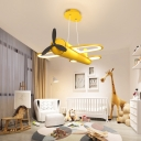 Prop Plane Pendant Light Vintage Style Boys Room Metal Shade Chandelier with 19.5 Inchs Height Adjustable Rope