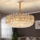 Modern Chic Round Hanging Lamp Clear Crystal Decorative Suspension Light in Rose Gold