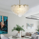 White Seeded Leaf Shape Pendant Light Nordic Chandelier in Brass with Adjustable Height