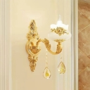 Candle Dining Room Chandelier Lamp Traditional Faux Jade 1/2/15-Head Gold Wall Light with Crystal Deco