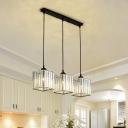 3 Heads Pendant Light Modern Black Clear Crystal Pendant Lighting for Dining Room