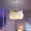 Nordic 1 Light Suspension Pendant White Drum Ceiling Hang Lamp with Feather Shade and Crown
