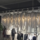 12 Lights Chain Chandelier Lamp Modern Silver Hanging Ceiling Light for Dining Table