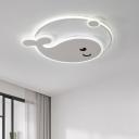 Cartoon Whale Acrylic LED Ceiling Fixture Kids Bedroom White Metal Ring 1-Light Flushmount Light