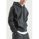 Thick Men's Hooded Sweatshirt Drawstring Front Pocket Solid Color Long Sleeve Relaxed Fit Hoodie