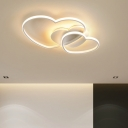 Stacked Metal Frame LED 1-Light Flushmount Light Acrylic Hearts Form Kids Bedroom Flush Mount Ceiling Fixture