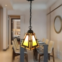 Cone Shade Tiffany Pendant Light in Stained Glass Decorative Mini Hanging Pendant 7