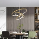 Circular Living Room LED Chandelier Metal Simple Style Pendant Light Fixture in Gold
