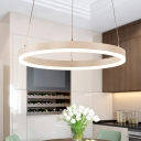Post Modern White Chandelier Tiered LED Light Circular Ring Chandeliers for Dining Room Foyer Farmhouse