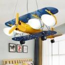 Vintage Retro Biplane Chandelier Navy Metal LED Suspended Light for Amusement Park in Blue