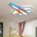 Blue Cartoon Aircraft LED Flushmount Light Kids Bedroom Metal 1-Licht Flushmount Fixture
