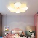 Plastic White-Yellow LED Ceiling Light Kids Bedroom Flower Design 1-Ligh Flushmount Light