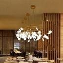White Firefly Chandelier Light Simplicity Gold LED Pendant Light Fixture for Bedroom