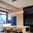 Black Bar Shaped Metal Island Light LED Hanging Pendant Light for Dining Room