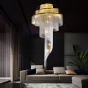 Modern Luxe Tiered Chainlet Chandelier Aluminum Dining Room Hanging Light in Silver with Tail