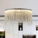 Silver Tassel Chandelier Postmodern Metal LED Hanging Light Fixture over Table