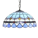 Domed Shade Pendant Light 16 Inch Baroque Style Glass Hanging Lamp for Stair Dining Room in Blue