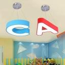 Metal Letter LED Pendant Light Nursing Room Classroom Ceiling Lamp in White Light