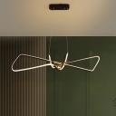 Contemporary Metal Linear Island Lighting Minimalist LED Hanging Light Fixture