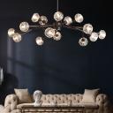 Nordic Style Sputnik Chandelier  Clear K9 Crystal Pendant Light in Black for Living Room