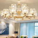 Modern Chandelier Light Fixture Living Room Crystal Chandelier with Brass Arms