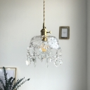 Textured Glass Shade Single Light Pendant Lamp in Polished Gold with Teardrop Shaped Crystal