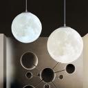 White Globe Shade Hanging Light with Planet Design Space Kids Room Plastic Single Light Suspension Light