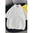 Men Dashing Shirt Solid Color Button-Down Turn-down Collar Short Sleeves Relaxed Shirt