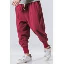 Mens Trendy Pants Plain Drawstrings Pocket Detail Tapered Fit Ankle Pants