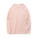 Popular Mens Sweatshirt Solid Color Long Sleeves Crew Neck Pullover Loose Sweatshirt