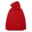 Simple Men's Hooded Sweatshirt Solid Color Long Sleeve Drawstring Loose Fitted Hooded Sweatshirt