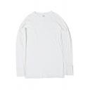 Basic Sweatshirt Plain Side Slit Design Crew Neck Long Sleeve Regular Fit Pullover Sweatshirt for Men