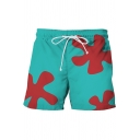 Fancy Shorts 3D Printed Drawstring Waist Mid Rise Loose Fitted Shorts for Men