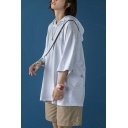 Trendy Hoodie Plain Drawstring Pocket Detail 3/4 Sleeve Loose Hoodie for Men