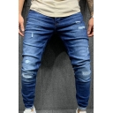 Fashionable Jeans Plain Bleach Broken Hole Mid Rise Slim Fitted Jeans for Men