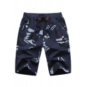 Urban Shorts Camouflage Print Drawstring Waist Zip-up Pocket Knee-Length Fitted Shorts for Men